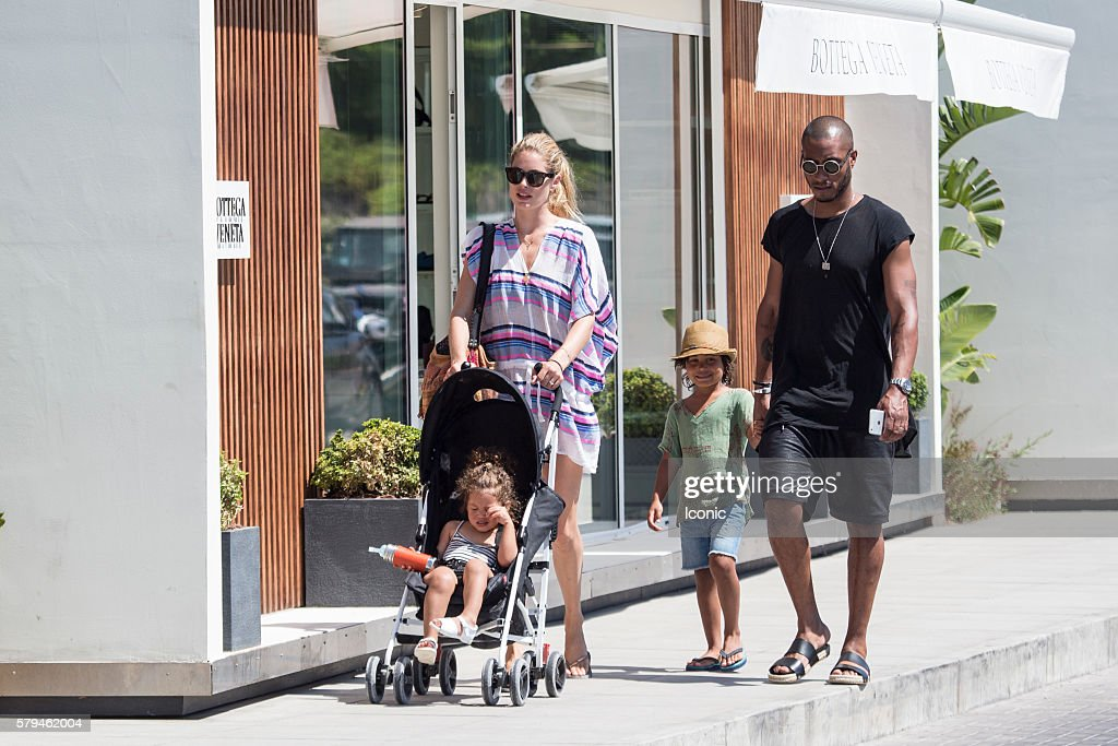 Doutzen Kroes and Sunnery James enjoy a stroll with their kids on July 24, 2016 in Ibiza, Spain.
