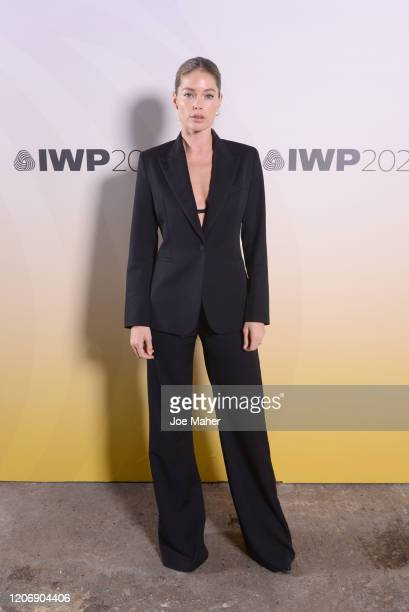 Doutzen Kroes attends the International Woolmark Prize 2020 during London Fashion Week February 2020 at Ambika P3 on February 17 2020 in London...