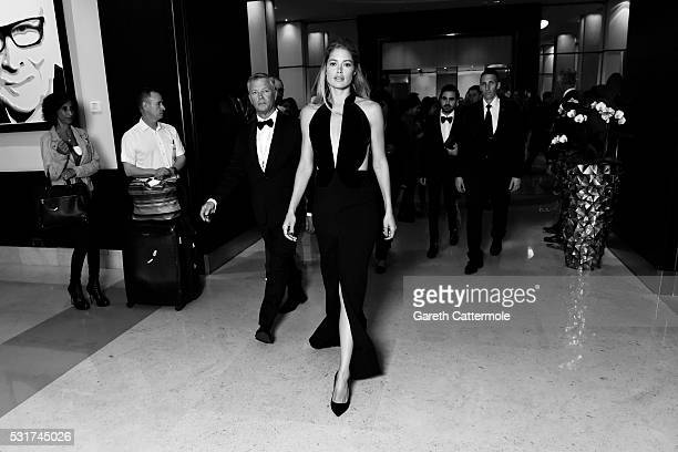 Doutzen Kroes departs the Martinez Hotel during the 69th annual Cannes Film Festival on May 11 2016 in Cannes France