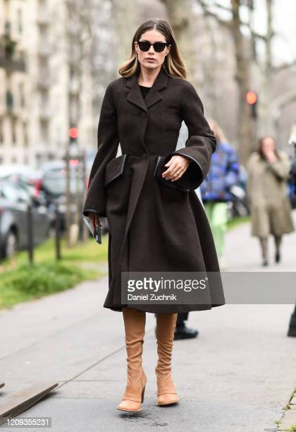 Doutzen Kroes is seen wearing a Loewe coat outside the Loewe show during Paris Fashion Week: AW20 on February 28, 2020 in Paris, France.