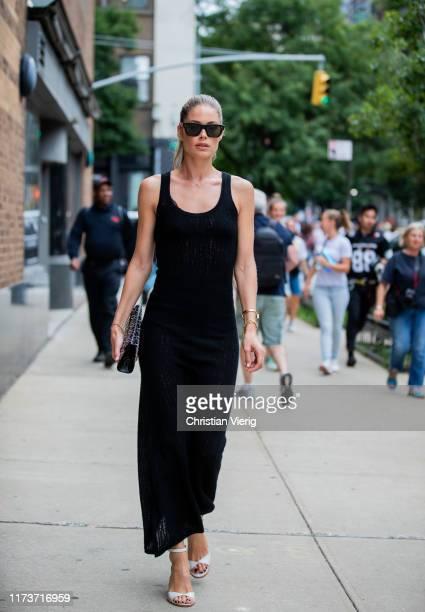 Doutzen Kroes is seen wearing black dress outside Gabriela Hearst during New York Fashion Week September 2019 on September 10, 2019 in New York City.