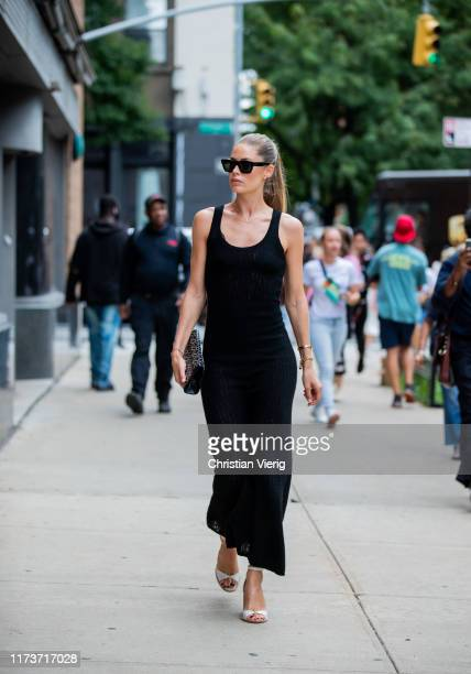 Doutzen Kroes is seen wearing black dress outside Gabriela Hearst during New York Fashion Week September 2019 on September 10 2019 in New York City