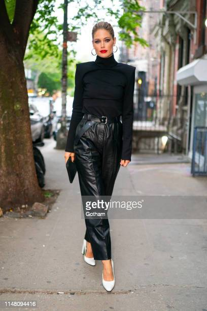 Doutzen Kroes is seen wearing Ingorokva with Balenciaga shoes at Comparti in the East Village on May 09, 2019 in New York City.