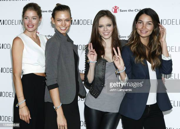 Doutzen Kroes Karlie Kloss Coco Rocha and Lily Aldridge attend the Modelinia Beautiful Friends Forever Bracelet launch at the Dream Hotel on...