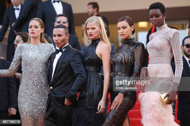 Doutzen Kroes Olivier Rousteing Lara Stone Irina Shayk and Maria Borges attend the 'The Beguiled' screening during the 70th annual Cannes Film...