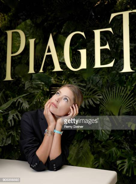 Doutzen Kroes visits the #Piaget booth during the #SIHH2018 on January 15 2018 in Geneva Switzerland