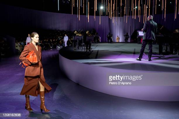 Doutzen Kroes walks the runway during the Boss fashion show as part of Milan Fashion Week Fall/Winter 2020-2021 on February 23, 2020 in Milan, Italy.