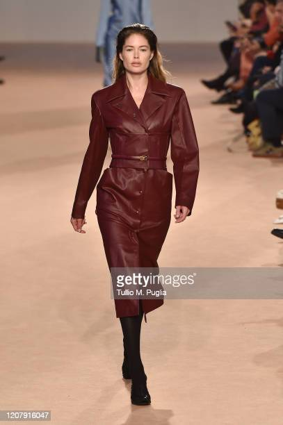 Doutzen Kroes walks the runway during the Salvatore Ferragamo fashion show as part of Milan Fashion Week Fall/Winter 20202021 on February 22 2020 in...
