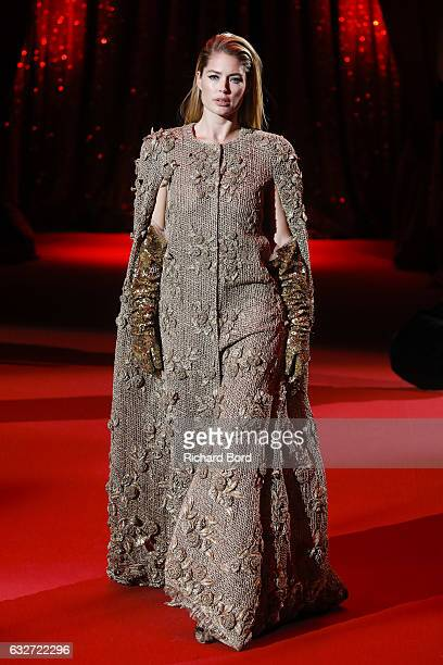 Doutzen Kroes walks the runway during the Ulyana Sergeenko Haute Couture Spring Summer 2017 show at Cirque d'Hiver as part of Paris Fashion Week on...
