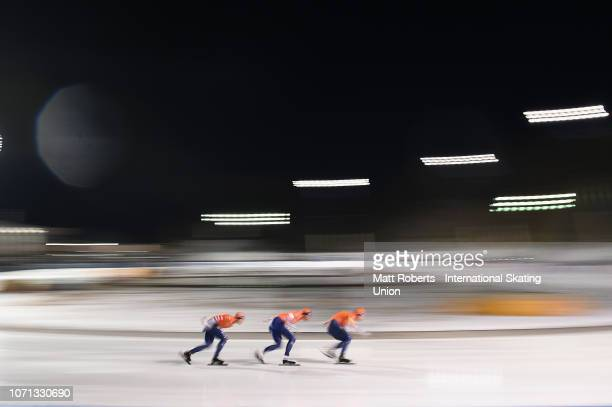 Douwe De Vries, Patrick Roest and Marcel Bosker of Netherlands compete during the Men's Team Pursuit on day one of the ISU World Cup Speed Skating at...