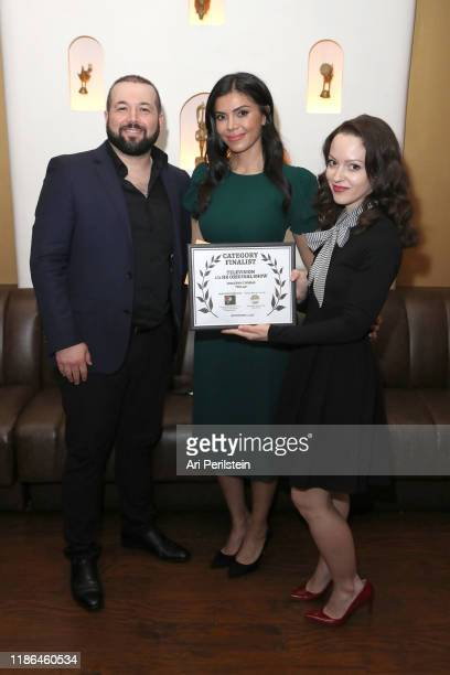 Doval Bacall, Sheila Shah, and Jodi Lynn Thomas pose with award at Your Script Produced! International Script Competition Season 1 Awards Dinner on...
