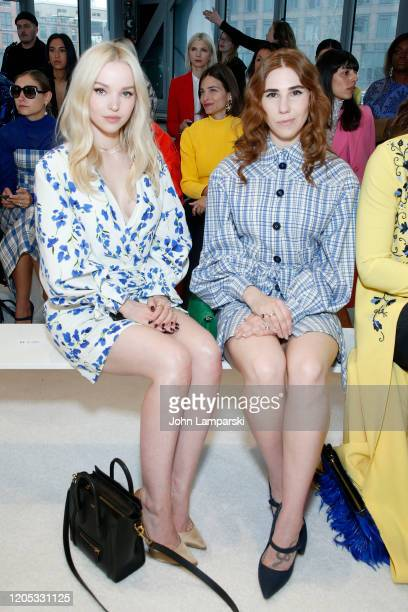 Dove Cameron and Zosia Mamet attend the front row for Carolina Herrera during New York Fashion Week on February 10 2020 in New York City