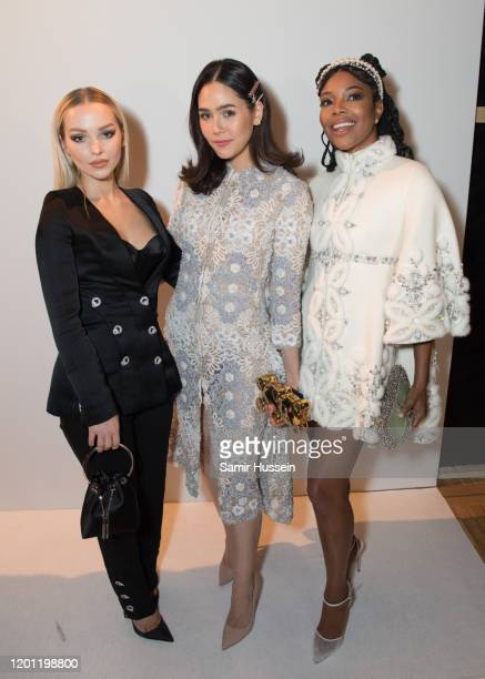 Dove Cameron Araya Hargate and Gabrielle Union attend the Ralph Russo Haute Couture Spring/Summer 2020 show as part of Paris Fashion Week on January...