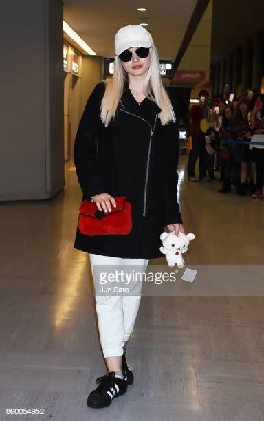 Dove Cameron is seen upon arrival at Narita International Airport on October 11 2017 in Narita Japan