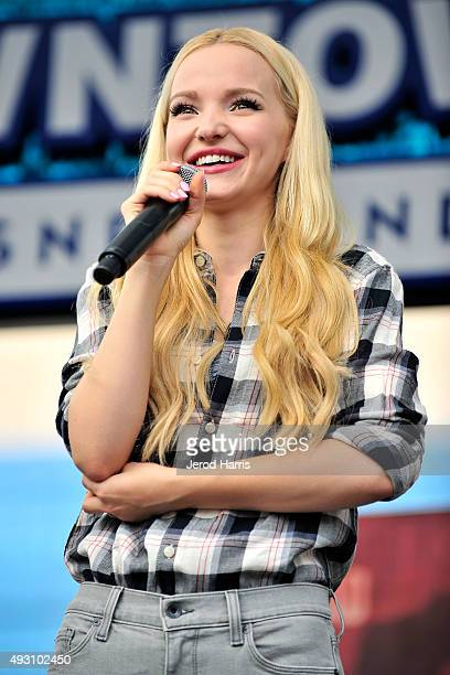 Dove Cameron of Disney's 'Descendants' perform and join fans at Downtown Disney at Disneyland Resort on October 17 2015 in Anaheim California