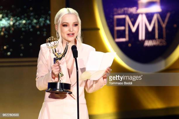 Dove Cameron on stage during the 45th Annual Daytime Creative Arts Emmy Awards at Pasadena Civic Auditorium on April 27 2018 in Pasadena California