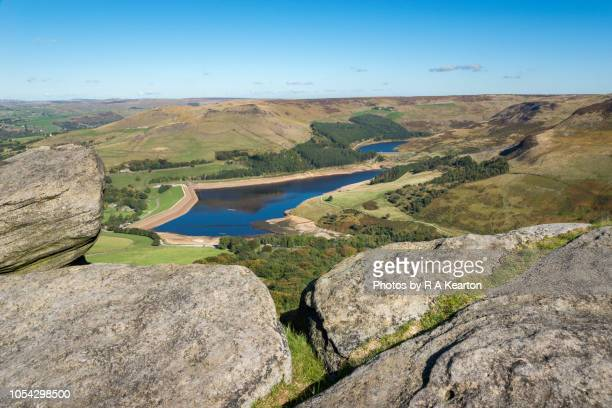 dove stone reservoir from wimberry stones, greenfield, greater manchester - greater manchester stock pictures, royalty-free photos & images