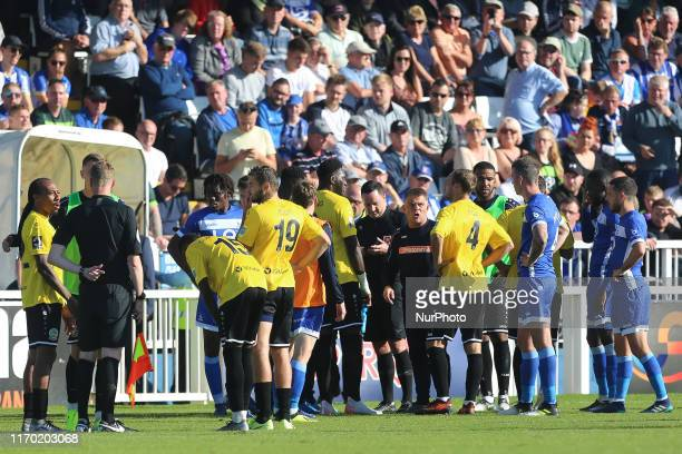 Dover Athletic manager Andy Hessenthaler talks to his players fater an alleged racist incident involving Dover Athletic's players and Hartlepool...