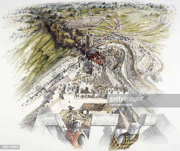 Dover Castle siege Reconstruction drawing of the French attacking the collapsed East Tower North gate Commanding the shortest sea crossing between...