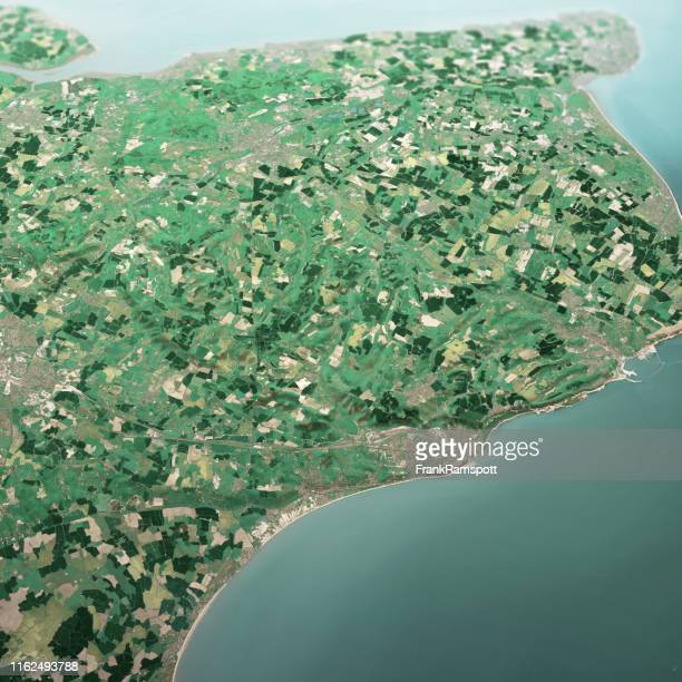 dover england 3d render aerial landscape view from south may 2019 - frank ramspott stock pictures, royalty-free photos & images
