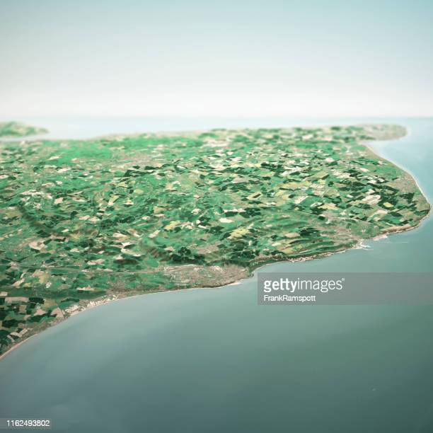 dover england 3d render horizon aerial view from south may 2019 - frank ramspott stock pictures, royalty-free photos & images