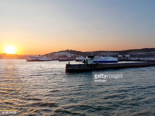 Dover Ferry Port with castle, England