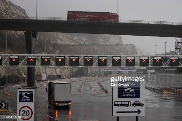 Dover Port is closed as new travel restrictions to the continent remain in place on December 21, 2020 in Dover, England. Citing concern over a new...