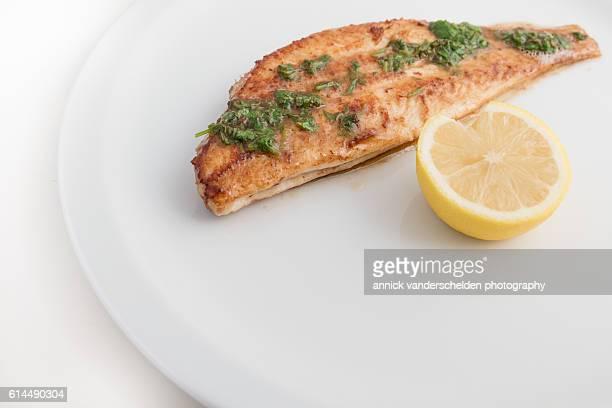 dover sole meunière and lemon. - フラットフィッシュ ストックフォトと画像