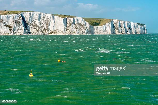 uk, dover, view from stormy english channel to chalk cliffs - english channel stock photos and pictures