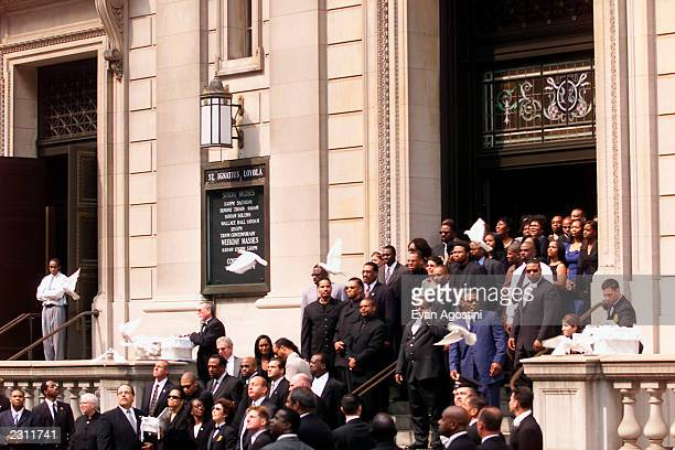 Doves are released as Aaliyah's casket leaves St Ignatius Loyola Roman Catholic Church in New York City 8/31/2001 Photo Evan Agostini/Getty Images
