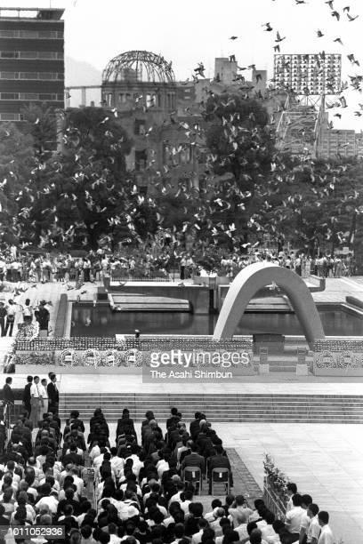 Doves are released during the memorial ceremony on the 40th anniversary of the Hiroshima ABomb dropping at the Hiroshima Peace Memorial Park on...