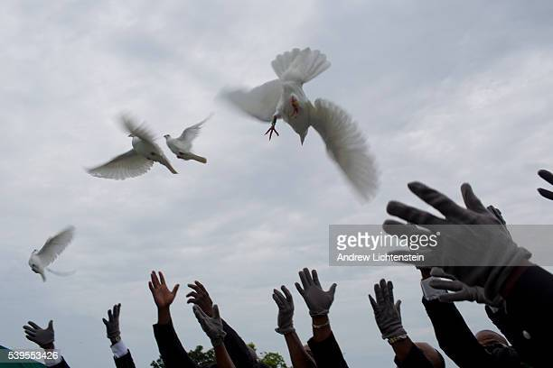Doves are released into the air at the funeral services in Charleston South Carolina for Ethel Lance one of the nine parishioners murdered last week...