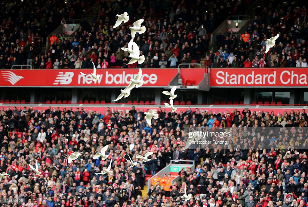 96 doves are released into the air to symbolise each of the 96 victims of the Hillsborough disaster during a memorial service at Anfield stadium on April 15, 2016 in Liverpool, England. Thousands of fans, friends and relatives took part in the final Anfield memorial service for the 96 victims of the Hillsborough disaster. Earlier this year relatives of the victims agreed that this year's service would be the last. Bells across the City of Liverpool rang out during a one minute silence in memory of the 96 Liverpool supporters who lost their lives during a crush at an FA Cup semi-final match against Nottingham Forest at the Hillsborough football ground in Sheffield, South Yorkshire in 1989.