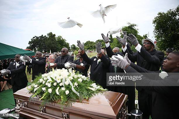 Doves are released over the casket of Ethel Lance before she is buried at the AME Church cemetery she was one of nine victims of a mass shooting at...