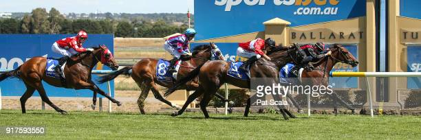 Doves Cry ridden by Beau Mertens wins the Craigâs Royal Hotel FM BM64 Handicap at SportsbetBallarat Racecourse on February 13 2018 in Ballarat...