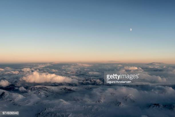 Dovre Mountains covered in clouds, Dovrefjell, Norway
