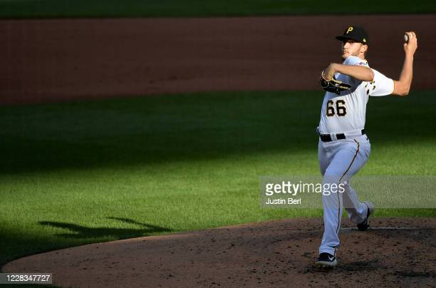 Dovydas Neverauskas of the Pittsburgh Pirates delivers a pitch in the fifth inning during game one of a doubleheader against the Cincinnati Reds at...