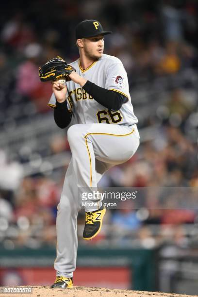 Dovydas Neverauskas of the Pittsburgh Pirates during a baseball game against the Washington Nationals at Nationals Park on September 28, 2017 in...