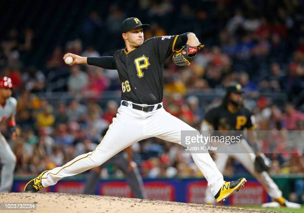 Dovydas Neverauskas of the Pittsburgh Pirates in action against the Philadelphia Phillies at PNC Park on July 6, 2018 in Pittsburgh, Pennsylvania.
