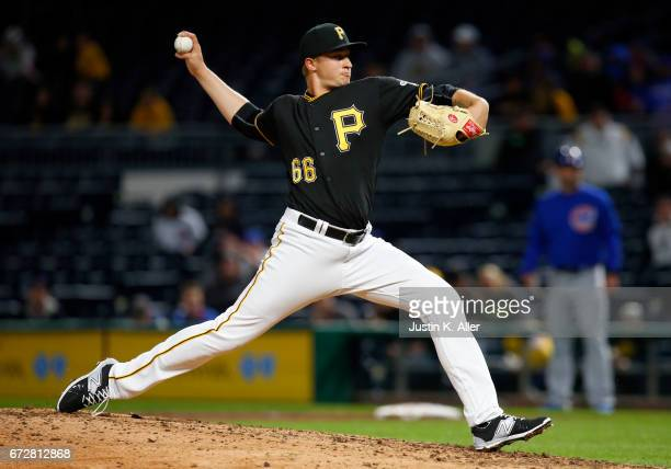 Dovydas Neverauskas of the Pittsburgh Pirates makes his Major League Debut while pitching in the eighth inning against the Chicago Cubs at PNC Park...