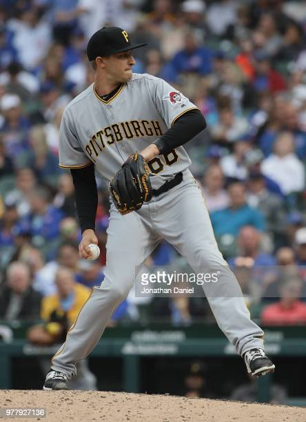 Dovydas Neverauskas of the Pittsburgh Pirates pitches against the Chicago Cubs at Wrigley Field on June 8, 2018 in Chicago, Illinois. The Cubs...