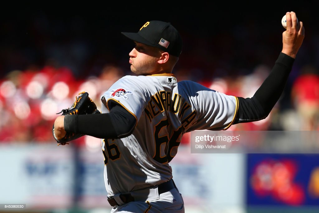 Dovydas Neverauskas #66 of the Pittsburgh Pirates pitches against the St. Louis Cardinals in the eighth inning at Busch Stadium on September 10, 2017 in St. Louis, Missouri.