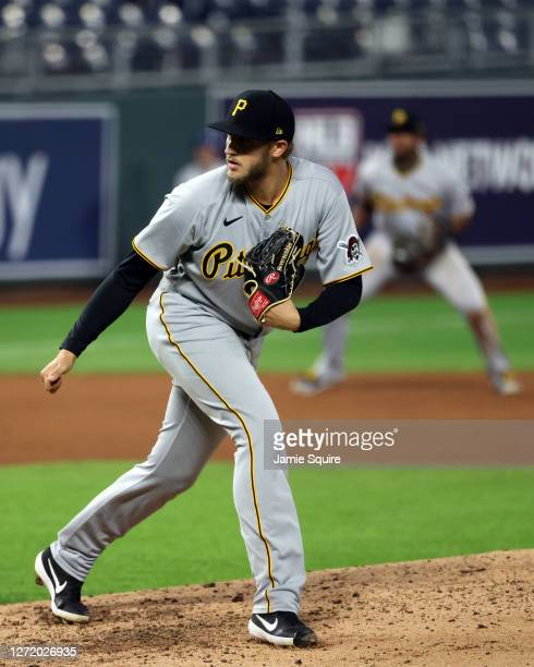 Dovydas Neverauskas of the Pittsburgh Pirates pitches during the 7th inning of the game against the Kansas City Royals at Kauffman Stadium on...