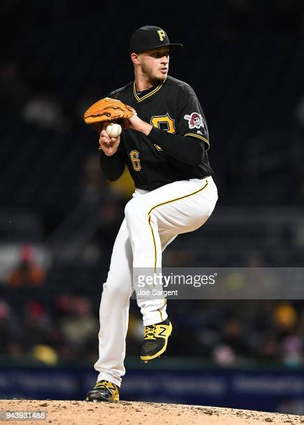 Dovydas Neverauskas of the Pittsburgh Pirates pitches during the game against the Cincinnati Reds at PNC Park on April 7, 2018 in Pittsburgh,...