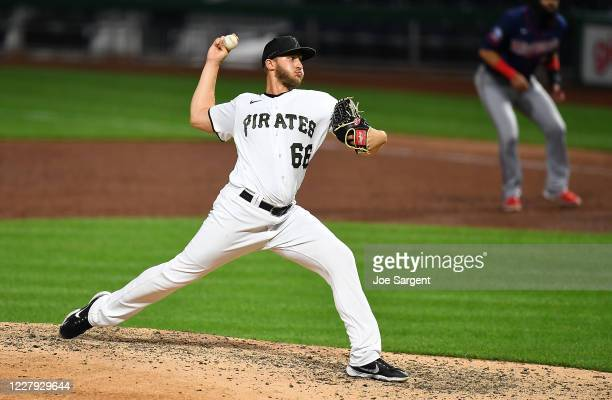 Dovydas Neverauskas of the Pittsburgh Pirates pitches during the ninth inning against the Minnesota Twins at PNC Park on August 5, 2020 in...