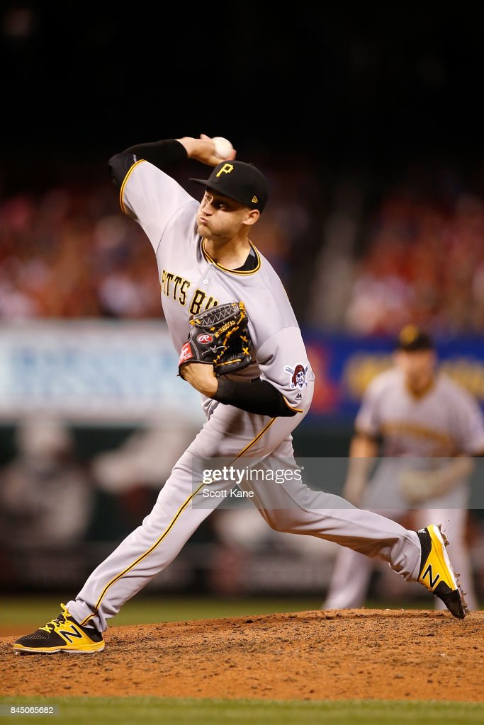 Dovydas Neverauskas #66 of the Pittsburgh Pirates pitches during the seventh inning against the St. Louis Cardinals at Busch Stadium on September 9, 2017 in St. Louis, Missouri.