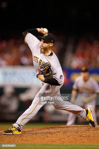 Dovydas Neverauskas of the Pittsburgh Pirates pitches during the seventh inning against the St. Louis Cardinals at Busch Stadium on September 9, 2017...