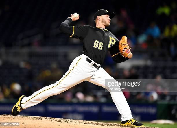 Dovydas Neverauskas of the Pittsburgh Pirates pitches during the sixth inning against the Cincinnati Reds at PNC Park on April 7, 2018 in Pittsburgh,...