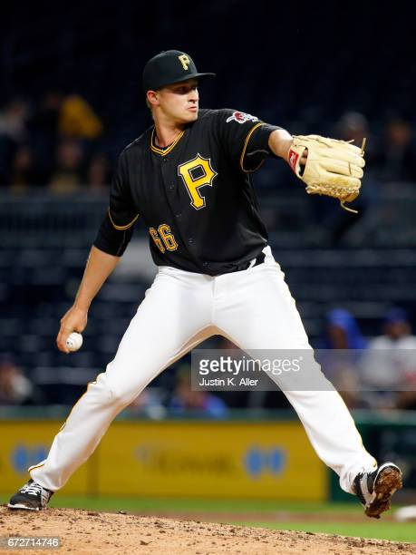 Dovydas Neverauskas of the Pittsburgh Pirates pitches in his major league debut in the eighth inning against the Chicago Cubs at PNC Park on April...