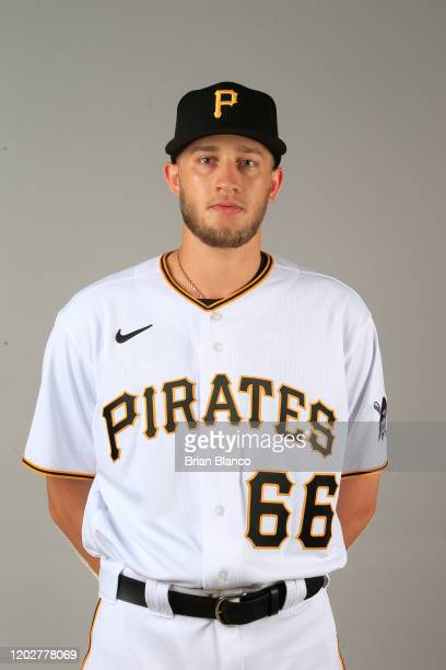 Dovydas Neverauskas of the Pittsburgh Pirates poses for a photo during the Pirates' photo day on February 19, 2020 at Pirate City in Bradenton,...